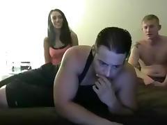 Brunette, Bisexual, Blowjob, Brunette, Threesome, Webcam