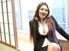 Tranny secretary tears open her pantyhose and jerks off