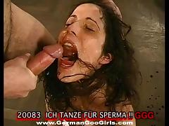 A guy takes her from behind while another fills her mouth