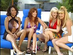 Toys fingering pussies and asses as lesbians have an orgy