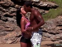 Hot Brazilian chick has beautiful sex on a private beach porn tube video