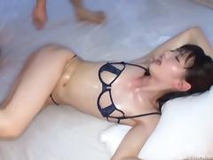 Slick oiled babe in a high rise hotel room fucked in her hairy pussy porn tube video