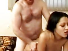 Brunette enjoys retro fuck