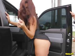 Bootylicious demoiselle in stockings is pounded in a rough way