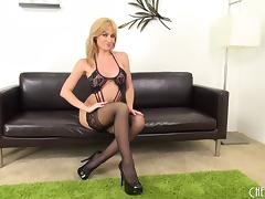 Naughty black lace lingerie makes Angela Sommers so sexy