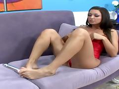 Fetish foot job with Ann Marie waiting doggystyle pounding