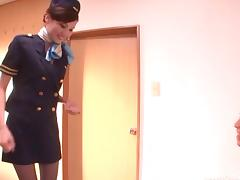 Asian stewardess gives an erotic CFNM handjob porn tube video