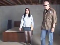 Saleswoman in basement tube porn video