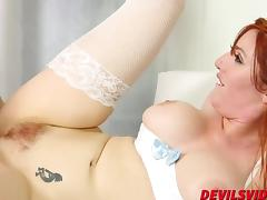 Lauren Phillips fucks her in stockings