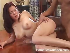 Big black cock fucks the slick shaved pussy of a busty cutie porn tube video