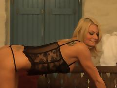 Sultry Euro blonde in lingerie double penetrated hard