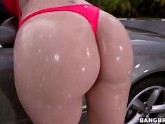 Big ass Sara Jay takes black cock after car wash tube porn video