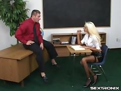 Latex skirt and fishnets slut swallows dick and fucks in class