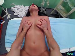 Celine in Doctor makes sure patient is well checked over - FakeHospital