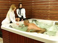 Girls in blouses climb in the hot tub for a threesome tube porn video