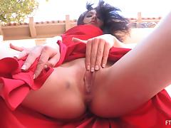 Leggy model wears a dress while using a toy on her pussy porn tube video