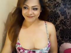 Horny Asian Shemale faps cock in a flash