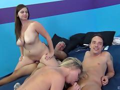 Sexy girls with gorgeous tits and asses have an orgy