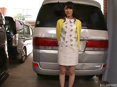 Kanako is quite ready to expose her private parts by the car