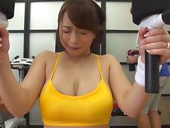 Curvy big boobs Japanese girl fucking after a workout tube porn video