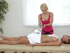 Sensual massage quickly turns into the wild lesbian scissoring