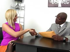 Looks like Kate England is totally happy to be poked with a black cock