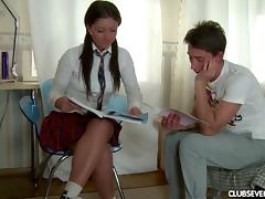 Doggy style anal session for the chick in a kinky school uniform
