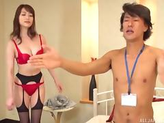 Japanese brunette spreads the sexy legs to be rammed by his cock tube porn video