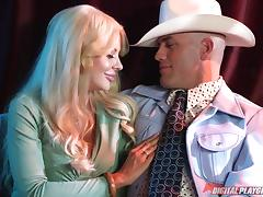 Extravagant blonde with large boobs banged hard by the cowboy
