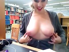 Library webcam show with her nice natural tits coming out porn tube video