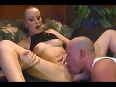 High heeled hottie gives a good blowjob and gets pounded on