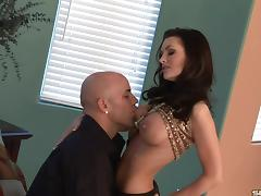 Lecherous babe squirms as tattooed stud jams his cock up her butt hole