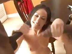 Brunette takes on two black cocks in itself