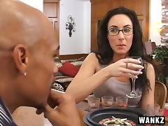 Horny milf in glasses gets her pussy filled with a big black cock tube porn video