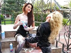 Whipped cream party as two lesbians play and smear food on each other porn tube video