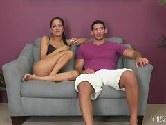 Abby's got the small tits but at least she can ride it well! tube porn video