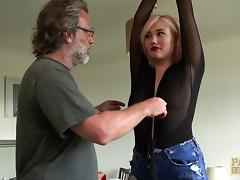 Sub girl with a punished ass fucked hard as he pulls her hair