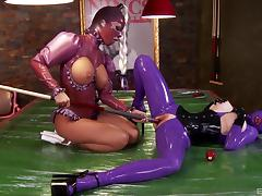 Shiny latex hoods and outfits on these titty licking ladies porn tube video