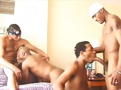 Hot black guys in a hotel room for an anal orgy porn tube video