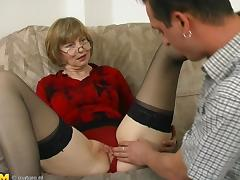 Sheer stockings are gorgeous on this mature cock whore porn tube video