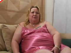 Fat belly slut in soft satin lingerie blows a lucky man porn tube video