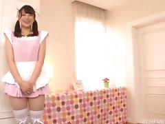 Pink maid in pigtails gets on her knees and sucks cock