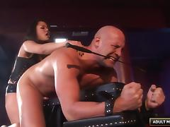Looks like Annie is ready to ride her slave's fully erected dick