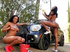 Ebony dolls posing naked in superb car wash nude scene porn tube video