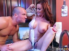 hot milf pours the cream on her tits