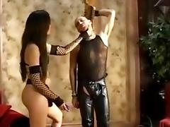 Two hot fendoms strap on fuck a slave guy porn tube video