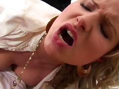 Alluring blonde asks to catch breath while getting roughly throbbed in a mmf