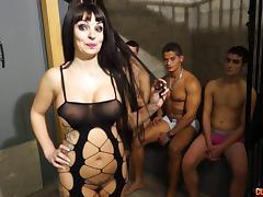 Gangbanged slut with fake tits takes all their cumshots porn tube video