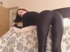 Stunning black latex catsuit girl tube porn video