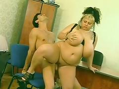 Horny Euro BBW sucks and fucks porn tube video